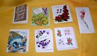 7 VTG 1950'S UNUSED GIFT CARDS W ENVELOPES - EMBOSSED, DIE CUT