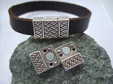 5 Sets Silver Snakeskin Magnetic Clasp For 10mm Flat Leather Bracelet Findings