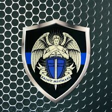 SAINT MICHAEL Thin Blue Line Police Shield Domed Decal Emblem Sticker 3D 2.3x 3""