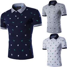 Moda para Hombre Elegante Casual camisetas Calce Ajustado Mangas Cortas Camisa Top gol Pol