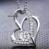 NEW 925 Silver Crystal Diamond Heart Pendent Necklace - Xmas Gifts For Her Women