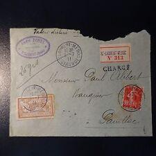 MERSON / SEMEUSE LETTRE CHARGE COVER CAD ST LAURENT MÉDOC 1911 POUR PAUILLAC