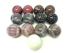 Set of Antique Victorian Glazed Ceramic Scottish Carpet Balls Collection 13