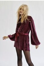 New Free People Annmarie Sequins Mini Burgundy Dress / Jacket / Kimono ($450) XS