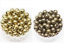 6 MM  BRASS ROUND SEAMLESS  BEADS 100 OF EACH NATURAL & ANTIQUE. HOLE 1.8 MM
