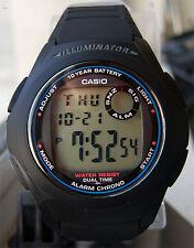 Casio F-200W-1A Digital Black Watch Illuminator 2 Time-Zones Multi Alarms New