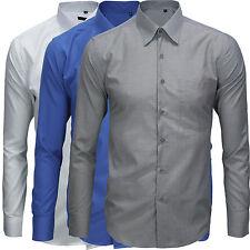 Camicia Cotone Uomo Casual Manica Lunga Button Down Colori Vari M L XL XXL G64CL