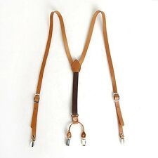 "Mens Leather Suspenders Y-Back Retro Braces Clip-On Brown Camel Tan M 40""-46"""