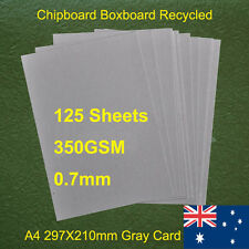 125 X A4 Chipboard Boxboard Cardboard Recycled Gray Card 350gsm 0.7mm
