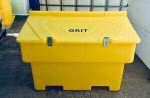 Salt Grit Bin Yellow 200 Litre Size Tough UV Stackable Site Safety Lockable UK