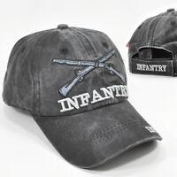 U.S. ARMY INFANTRY GRAY/BLACK MILITARY CAP HAT LOW PROFILE COTTON CROSS RIFLES