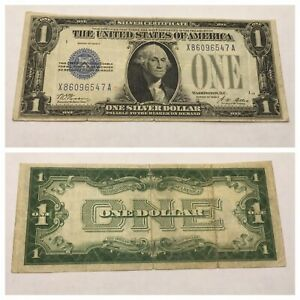 VINTAGE 1928-A ONE DOLLAR $1 SILVER CERTIFICATE BILL FUNNYBACK BLUE WASHINGTON