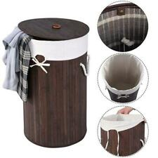 Bamboo Hamper Laundry Basket Washing Cloth Organizer Storage Bag Lid Brown