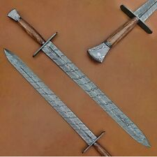 Custom Handmade Damascus Steel 34 Inches Sword With Wood Handle