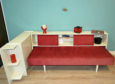vintage 60er Daybed KORD Cordcouch 60s Jugendzimmer rot/weiß Schlafsofa sixties