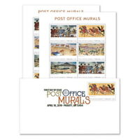 USPS New Post Office Murals Digital Color Postmark Keepsake (Set of 2 Panes)