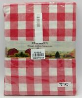 "Vintage Country Style Red Barn Tablecloth Red-White 70"" Round NOS made in India"