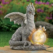 Solar Lighted Dragon With Gazing Ball Statue - Outdoor Garden Yard Home Decor