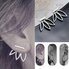 2 Pairs Hollow lotus Back Earrings Ear Hook Stud Concise Women Lady Jewelry
