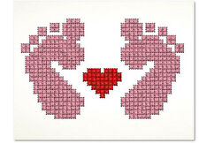 Baby Girl Feet Cross Stitch Blank Greeting Card, New Baby Handmade, Pink, Unique