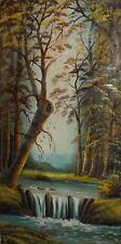 Large vintage forest river landscape oil painting signed
