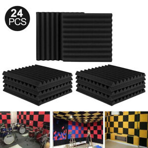 24PACK Acoustic Foam Wall Panels Soundproofing Sound Proofing Tiles Studio Decor