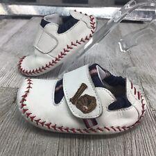 Stride Rite Sky Motion Moccasin White Leather Baseball Mite Bat Hook Loop Sz 4