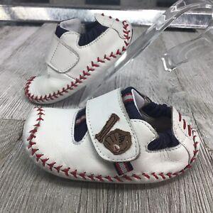 Stride Rite Sky Motion Crib Shoe Moccasin White Leather Baseball Mite Bat Sz 4