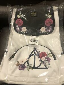 Loungefly Harry Potter Floral Deathly Hallows Slouch Backpack
