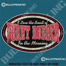 I LOVE THE SMELL OF BURNT RUBBER DECAL STICKER RETRO HOT ROD RAT ROD STICKERS
