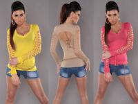 Maglia Donna Maglietta manica Lunga T-Shirt Maglia estiva Tagli strappi NUOVA