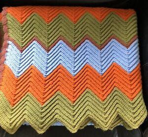 "Vintage Afghan Chevron Pattern Throw Blanket 38 X 67"" Green Orange Baby Blue EUC"