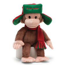 "GUND Curious George 14"" PLUSH with FARGO HAT & SCARF Christmas WINTER Decor"