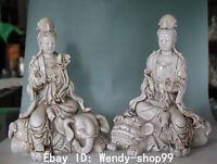 """14"""" Rare Dehua Porcelain On Lion Elephant WenShu Pu Xian Kwan-yin Buddha Statue"""
