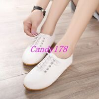 Fashion Womens British Style Round Toe Flats Soft Casual Lace Up Strappy Shoes