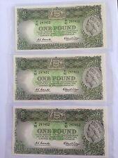 UNC 1961 Australian COOMBS/WILSON 1 Pound Consecutive Banknotes HI90 297450- 452