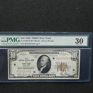 1929  $10 FRBN New York, Fr # 1860-B (BA Block) Jones/Woods, PMG 30 Very Fine