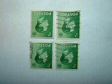 1936 King Edward Viii 1/2d Green Wmk Inverted Mint No Gum/Vfu x 4 sg457Wi Cv £25