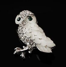 Enamel Snow Owl Pin With Austrian Crystal Stones