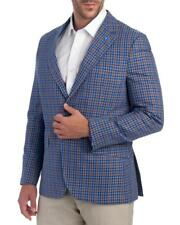 NWT $395 Tailorbyrd Blue Brown Check Cotton Linen 2 Button Blazer Sportcoat 46L