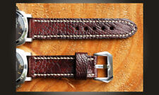 Ostrich Leather Handmade 24mm Watch Strap To Suit Panerai etc. Mahogany Brown