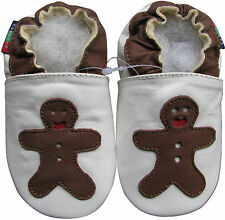 shoeszoo gingerbread white 0-6m S soft sole leather baby shoes