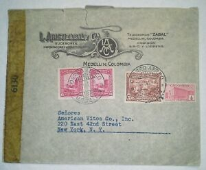 COLOMBIA 1943 WWII Multifranked Censored Cover addressed to New York