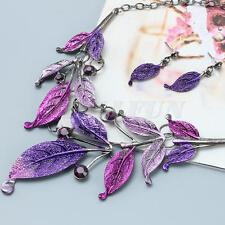 Vintage Women Jewelry Leaf Earrings Bib Necklace Costume Sets