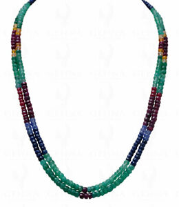 2 Rows Of Emerald, Ruby & Sapphire Gemstone Faceted Bead Necklace NP1003