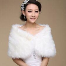 Women Artificial Fur Shawl Wrap Shrug Off Shoulder Cape Bridal Wedding Party HOT