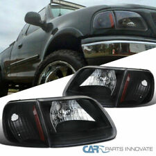 Ford 97-03 F150 97-02 Expedition Black Headlights+Corner Turn Signal Lamps Pair