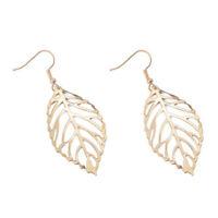 Women Hook Jewelry Hollow Metal Leaves Dangling Long Statement Drop Earrings New