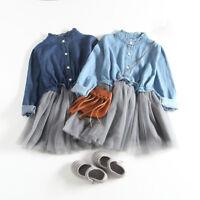 Toddler Baby Girl Denim Dress Long Sleeve Princess Tutu Dresses Cowboy Clothes X
