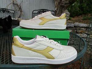 Diadora Men's B Elite Borg Tennis Shoes Trainers Sz 9.5 NEW White/Gold